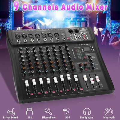 9 Channel Pro Console Studio Audio Mixer USB bluetooth DJ Sound Mixing 220V 48W