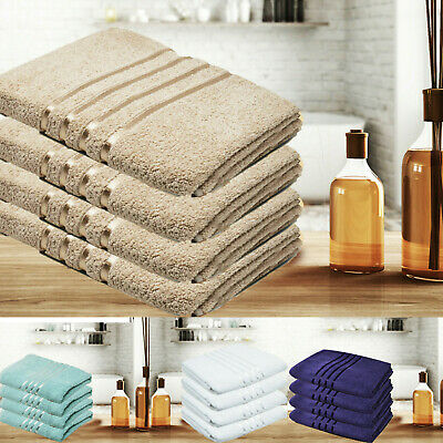 Towelogy® Egyptian Cotton Bath Towels 500GSM Striped Grey Luxury Hotel Set 2/4/6