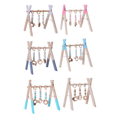Baby Foldable Wooden Play Gym with 3 Theething Gym Toys Frame Activity Gym