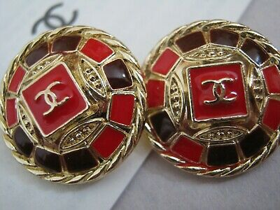 CHANEL BUTTONS lot of 2 RED PLUM  20 mm , UNDER 1 inch metal with GOLD cc logo