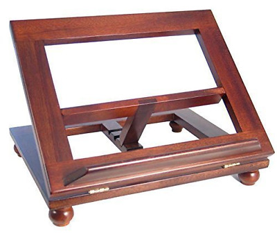 "Dark mahogany wood bible book stand 16"" by 10"" adjustable table top"