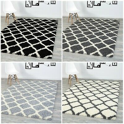 A2Z Rug Cosy Trellis Soft Shaggy Area Rugs Fluffy Living Room Bedroom Carpets