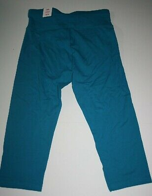 New Justice Leggings Girls 14 16 year Stretch Soft Pants Active Crop Teal Blue
