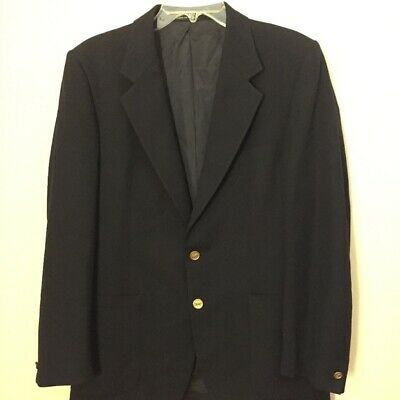 Mens Navy Yves Saint Laurent Notched Lapel Blazer Button Front with 3 Pockets