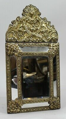 Small 19th c. French Repoussé Brass Cushion Mirror