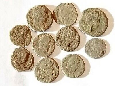 10 ANCIENT ROMAN COINS AE3 - Uncleaned and As Found! - Unique Lot 19740