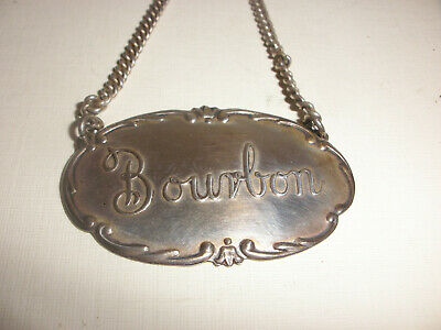 Vintage Webster Co. Sterling silver Liquor Tag decanter label Bourbon