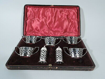 Victorian Condiment Set - Antique in Case - English Sterling Silver Cobalt Glass