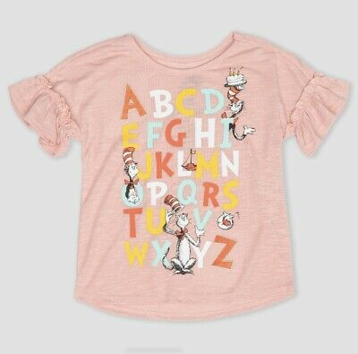 Toddler Girls' Dr. Seuss Cat in the Hat ABC Flutter T-Shirt Pink - Pick Sizes