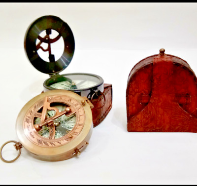 Solid Brass Antique Working Compass Nautical Astrolabe With Leather Case Set 2