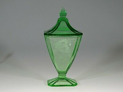 Vintage Deco Depression Glass Green Rectangular Candy Jar Floral Cut c.1935