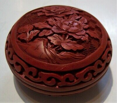 A China Chinese carved red cinnabar lacquered round lidded box Forbidden City
