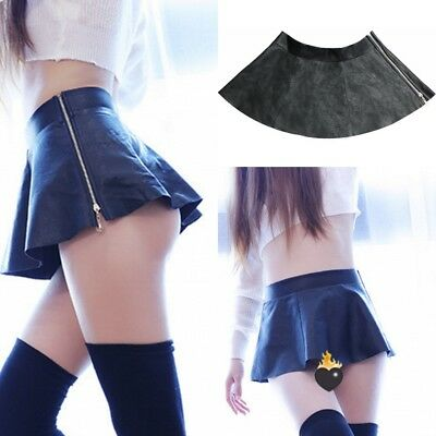 Women Sexy Extra Skirt Sailor Mini Uniform Plaid Pleated PU Leather Open Buttock