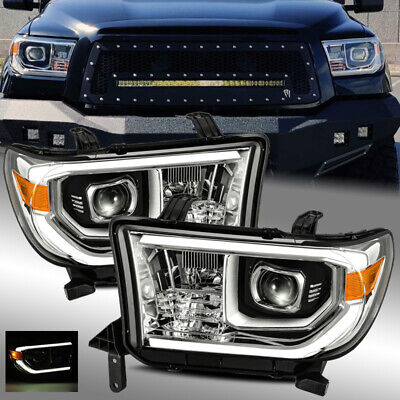 For 07-13 Tundra//08-17 Sequoia Black Crystal Headlights Left//Right Assembly Set