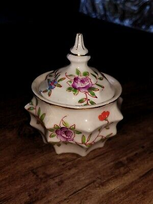 """Antique Vintage Unusual  China Mustard Pot with Lid  3.5"""" very old!"""