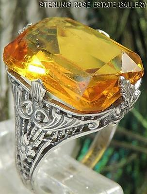 AUTHENTIC ART DECO YELLOW PASTE STONE Sterling Silver 0.925 COCKTAIL RING sz 4.5