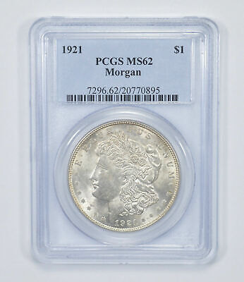 MS-62 1921-P Morgan Silver US Dollar - Graded by PCGS MS62