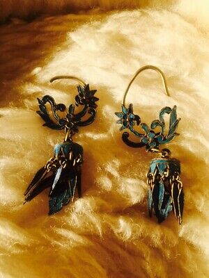 Chinese Antique Kingfisher Earrings