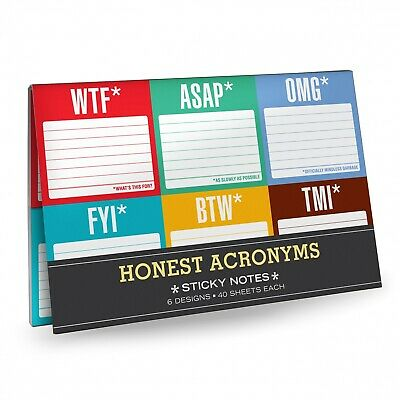 Knock Knock Sticky Notes - Honest Acronyms  Teenager Stationery Stocking Filler