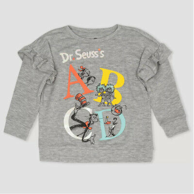 Toddler Girls' Dr. Seuss Cat in the Hat ABC Gray Sweatshirt - Pick Sizes