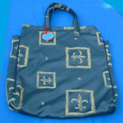 "Shoulder Pillow Bag For 20"" Pillow.  Royal/Fleur-De-Lys Pattern. 2 Zips.  Lined."