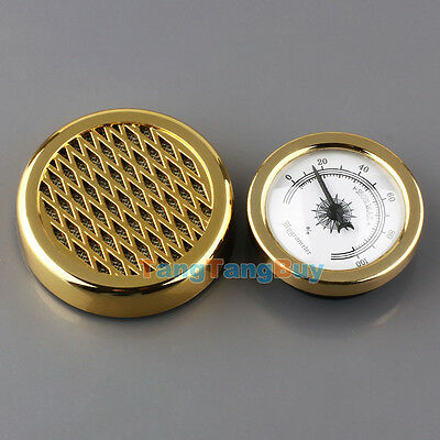 Round GOLD Color Smoking Tobacco Hygrometer with Humidifier for Cigar Humidors H