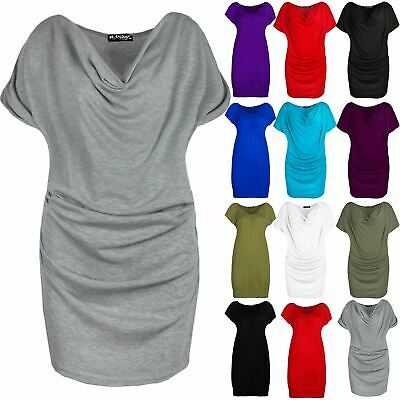 Ladies Side Ruched Stretchy Womens Gathered Cowl Neck Short Sleeve T Shirt Top