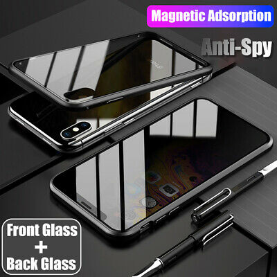 360° Anti-Spy Tempered Glass Magnetic Metal Case Cover For iPhone XS Max XR 8 7