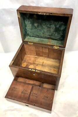Antique Mahogany Fitted Campaign Travelling Medicine Apothecary Cabinet 1 Drawer