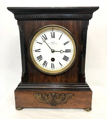 Antique Examined by DENT LONDON ROSEWOOD Bracket Mantel Clock MOUGIN