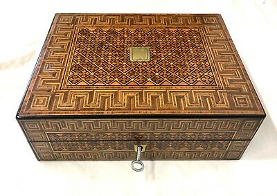 Antique Rosewood & Tunbridge ware Tunbridgeware Writing Box with Lock & Key