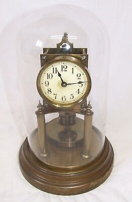 Antique Gustav Becker 400 Day Anniversary Torsion clock with Original Glass Dome