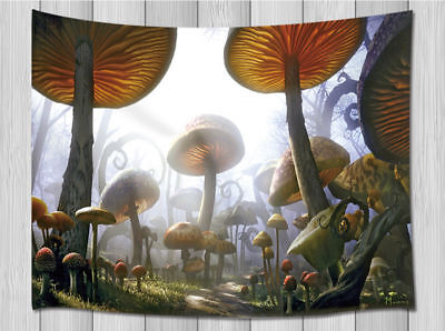 Mushroom Tapestry Forest Wall Hanging Fairytale Town Abstract Pattern Home Decor