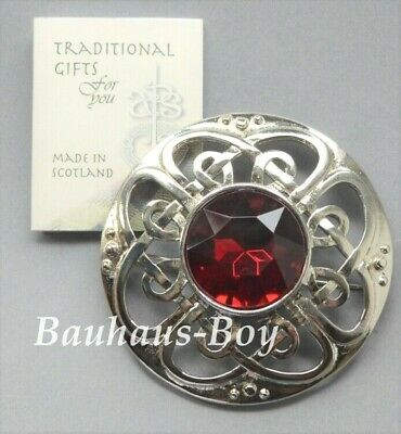 Art Pewter KILT PLAID BROOCH CULLODEN FAUX RUBY RED STONE MADE IN SCOTLAND BOXED