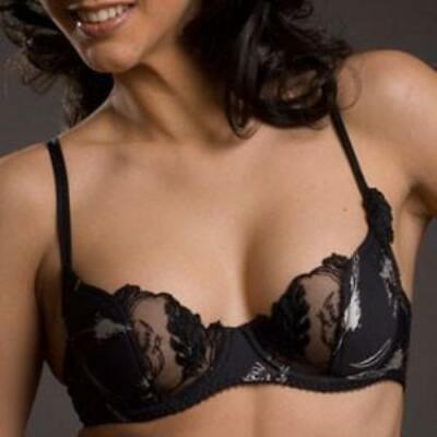 Semi-Sheer Half Padded Demi Cup Bra New Lavinia Lingerie Silver Feathers