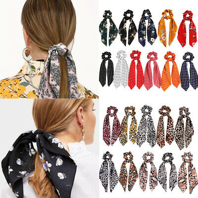 Lady Floral Dot Bow Hair Rope Leopard Snake Print Hair Scarf Ponytail Scrunchies