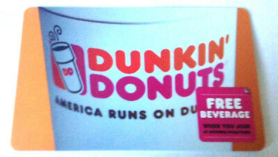 Dunkin' Donuts Coffee shop collectible GIFT CARD NO VALUE FREE BEVERAGE LOGO