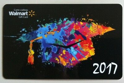NEW Walmart 2017 Graduation Cap GIFT CARD RECHARGEABLE BILINGUAL ! FD56239