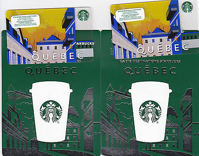 2x STARBUCKS QUEBEC CANADA 2015 ---0--- VALUE RECHARGEABLE Gift Card