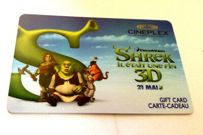 CINEPLEX Gift Card SHREK 3D No Balance, $0 BALANCE Collectible Card