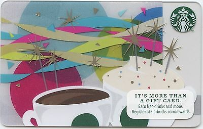 STARBUCKS 2014 Birthday CAKE GIFT CARD RECHARGEABLE BILINGUAL !