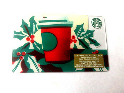 Starbucks GIFT CARD 2018 HOLIDAY RED CUP NO VALUE NEW BILINGUAL ---0-- balance