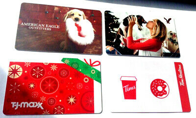 4x RECHARGEABLE GIFT CARD,,NO VALUE AMERICAN EAGLE-T.J.MAXX-TIM HORTONS X4