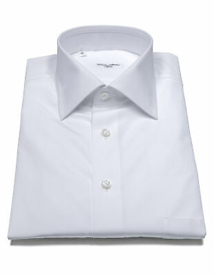 Cesare Attolini Shirt in White with Breast Pocket and Kent Collar Reg