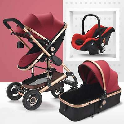 Multifunctional 3 in1 Baby Stroller Luxury Travel System High View Car Seat Fold