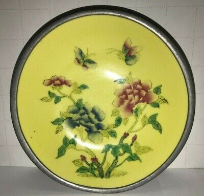VTG  Asian Bowl Oriantal Flowers Porcelain Metal Butterfly dish Japanese Chinese