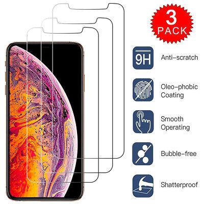 For iPhone X XR XS Max Caseswill HD-Clear Tempered Glass Screen Protector 3-Pack