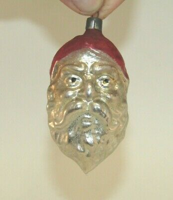 German Antique Glass Figural Santa Christmas Ornament Vintage Decoration 1900's