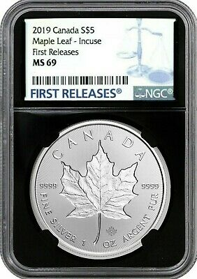 2019 Canada Silver Maple Leaf - Incuse S$5 First Releases Ngc Ms69