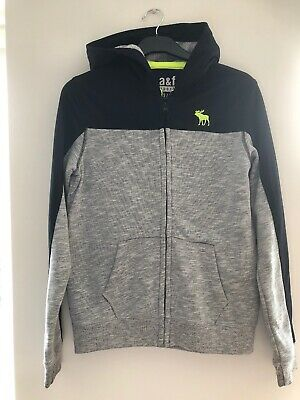ABERCROMBIE & FITCH Boys Hoodie Sweater 15-16 Years XL Grey Black Fluoro VGC